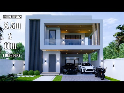Download House Design | Modern House 3 Storey  | 8.5m x 11m | 4 Bedrooms