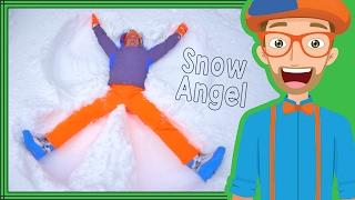 The Blippi Snow Angel | Winter fun for Children thumbnail