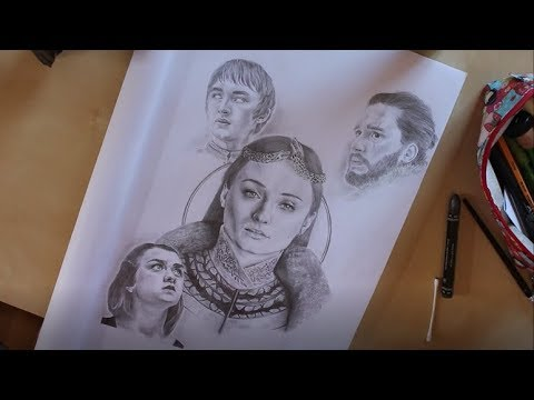 Drawing House Stark from Game of Thrones (Bran, Arya, Sansa Stark and Jon Snow)