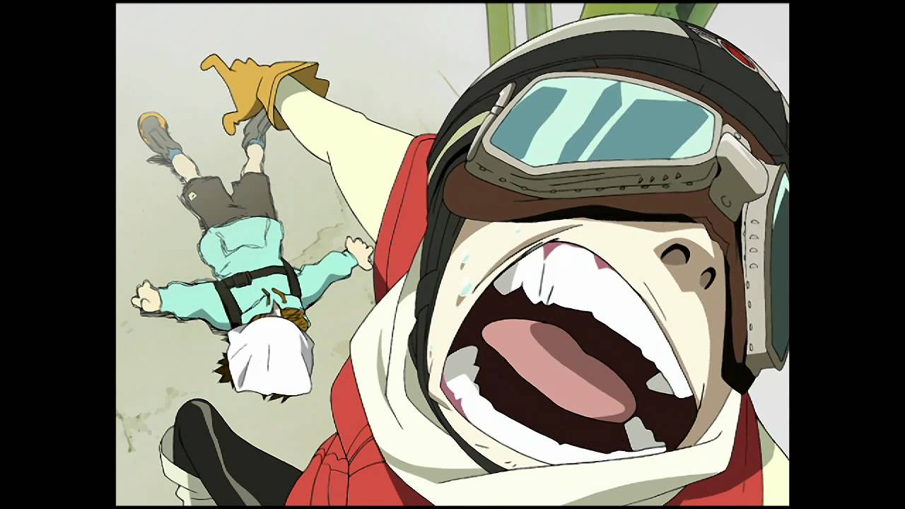 Flcl official english clip haruko arrives with a bang on dvd bd 2 22 11 youtube