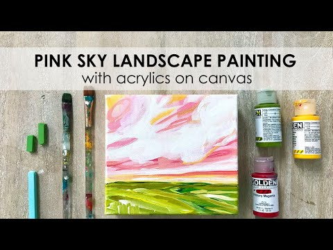 How to Paint a Landscape with a Pink Sky with Acrylic Paint on Canvas Step by Step! Day 7 of 100.