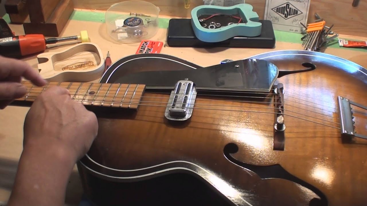 how to set the floating bridge on a archtop guitar [ 1920 x 1080 Pixel ]