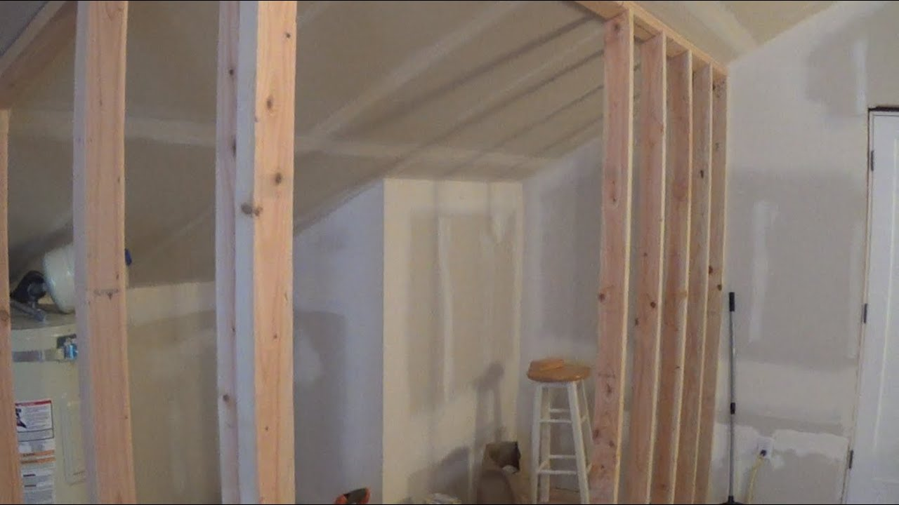 How To Frame A Wall With A Sloping Ceiling Youtube