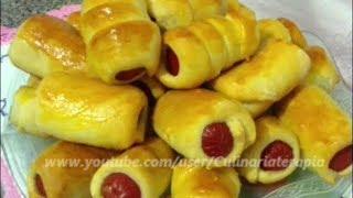 Enroladinho de salsicha assado - Massa Básica para Salgados Assados - Dine e Zinha Culinariaterapia thumbnail