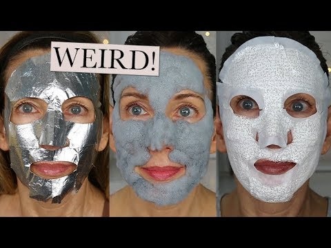 Weird Face Masks Tested! Bubble Mask, Corset Mask, Foil