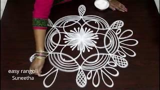 Easy cute n bright padi kolam designs by Suneetha || latest simple muggulu || rangoli art