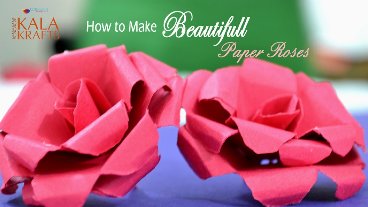 How To Make Beautiful Paper Rose Easy Step By Step Video  Paper Rose  Tutorial  Kala Krafts