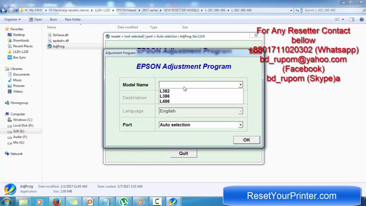 reset epson l382 gratuit