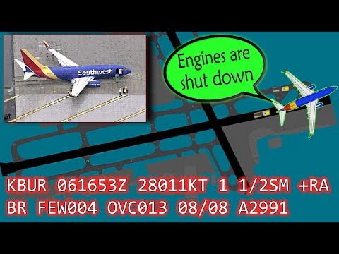 [REAL ATC] Southwest B737 SKIDS OFF the runway at Burbank!