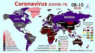 20 Million Coronavirus Cases & 700K Deaths Worldwide (Map Timelapse)