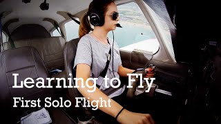 Beth's first solo flight with Sussex Flying Club