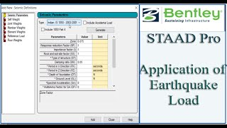 STAAD Pro Tutorial For Beginners [Episode 17]: Application Of The Earthquake Load