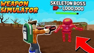 SLAYING THE *SECRET* SKELETON BOSS in WEAPON SIMULATOR! (Roblox)