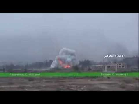 Video of #SyAF airstrikes on artillery college of #Aleppo.
