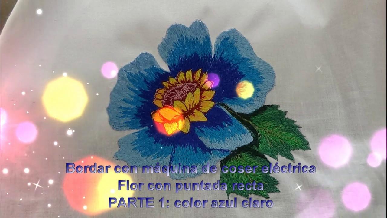 7582ed71c79 Bordado de flor con maquina de coser eléctrica con solo puntada recta- P1 petalos  grandes color 1