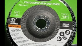 Harbor Freight 94017 4 1/2  Polycarbide Abrasive Wheel YouTube Videos