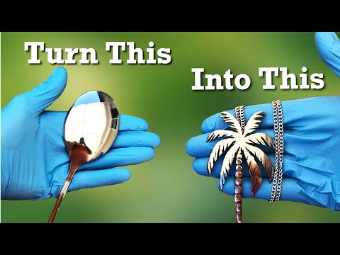 I Carved a Metal Spoon into a Palm Tree Necklace. DIY