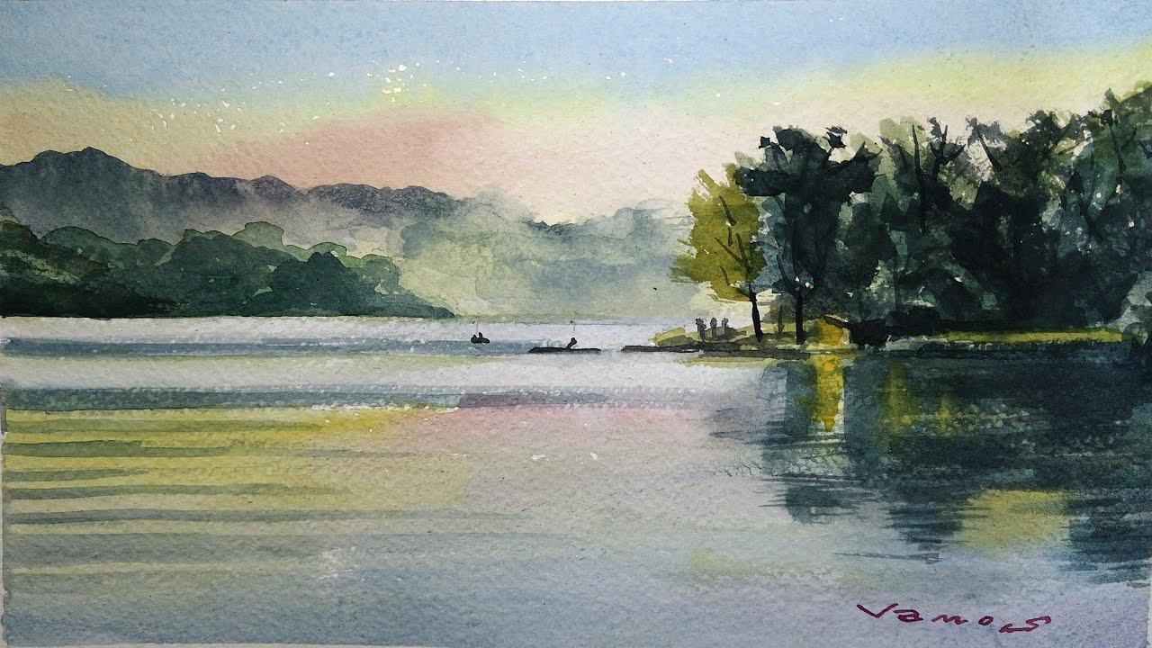 Lakeside - Watercolour Painting - Slow Life Art - By Vamos