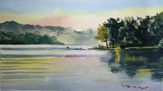 Lakeside - Watercolour Painting - Slow Life Art - By Vamos
