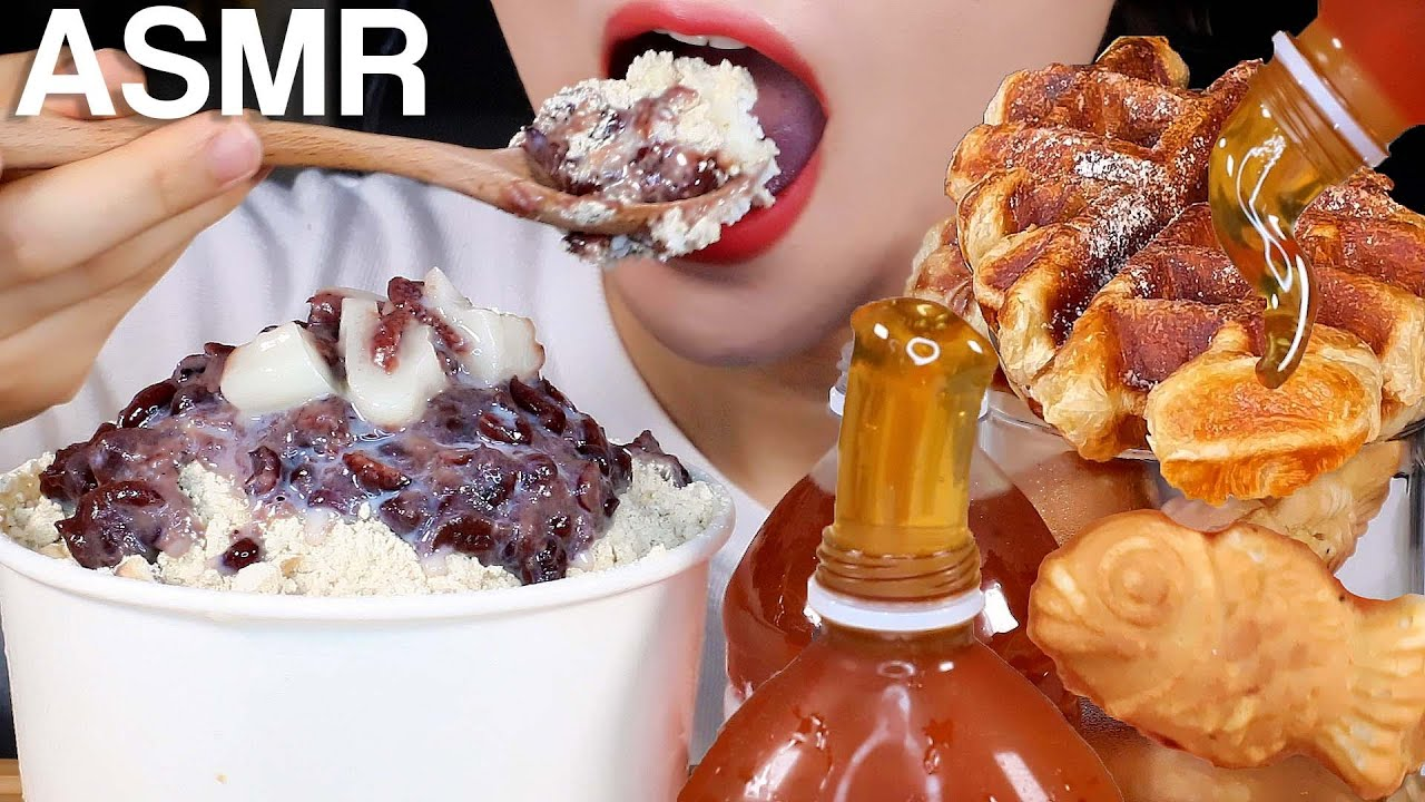 ASMR Snowflake Bingsu, Honey Jelly, Croffle, Fish Waffles 눈꽃빙수, 꿀젤리, 크로플, 붕어빵 먹방 Eating Sounds