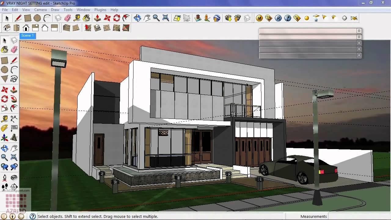 Google sketchup tutorial 16 vray bangunan malam hari youtube for Building sketch software