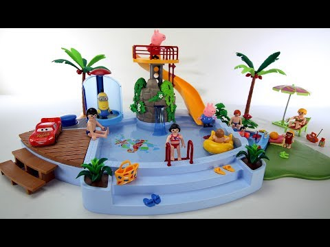 Thumbnail: Playmobil Children's Pool with Slide Playset - Build and Play Sea Animals Toys For Kids