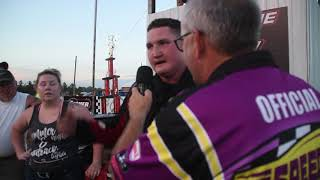 Benton County Speedway, Kyle Olson describes his victory in the IMCA Sport Mod