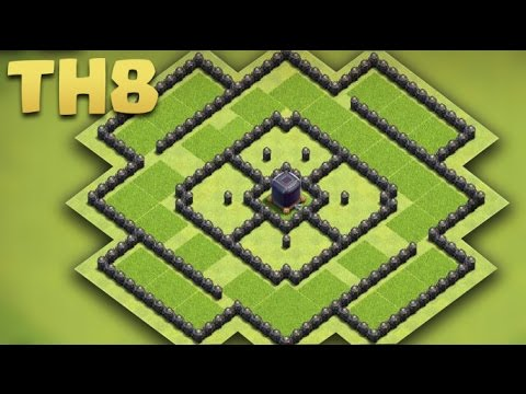 Clash of Clans - Town Hall 8 Best Dark Elixir Base (TH8 Troll Farming Base) + Replays 2016