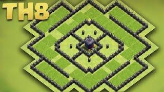 Clash of Clans - Town Hall 8 Best Dark Elixir Base (TH8 Troll Farming Base) + Replays 2016
