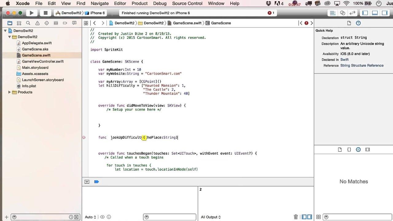 Swift 2.0 Basics Tutorial pt5 Iterating through Dictionaries to look ...
