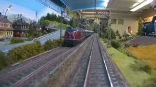 Fantastic model railway layout with cab ride from miniature railroad club in Germany in H0 Scale
