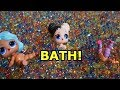 LOL SURPRISE DOLLS Take HUGE ORBEEZ Bath And Then Barbie Tucks Them In For Bed!