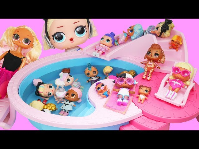 NEW Lol Surprise Dolls Under Wraps Big Unboxing at Pool Wigs