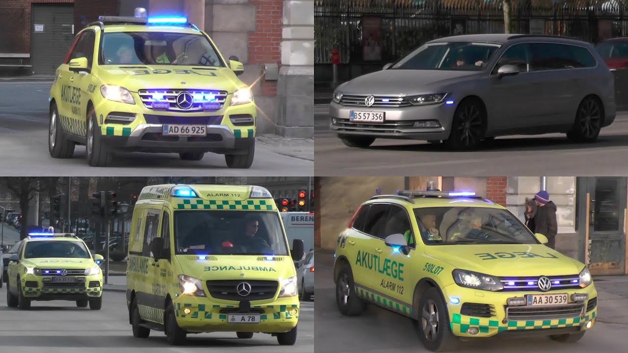 Many Akutlæge, ambulances and (Riot)Police with lights and sirens in Copenhagen! #1153