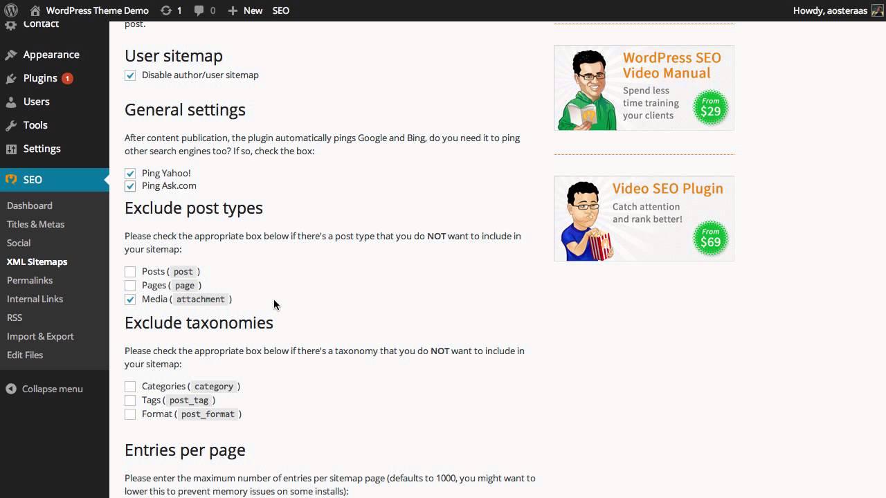 wordpress seo setup guide xml sitemaps youtube