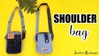 DIY SHOULDER BAG – BOLSA DE OMBRO FEITA DE SHORTS JEANS