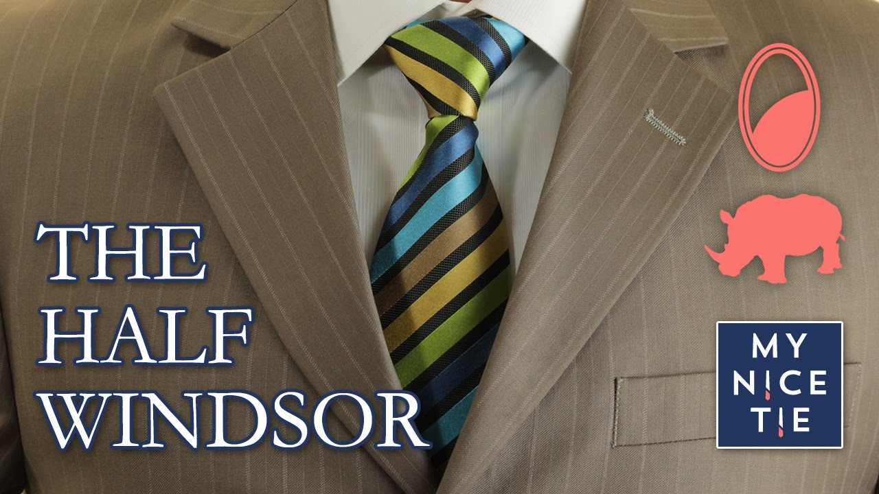 How to Tie a Tie: THE HALF WINDSOR (slow+mirrored=beginner) | How to Half Windsor Knot Diagram on