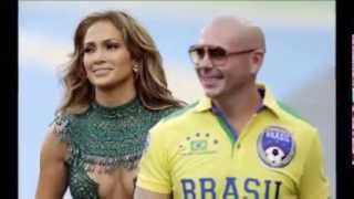 Popstar Jennifer Lopez and rapper Pitbull performed to thousands of people at the Arena de Sao Paulo