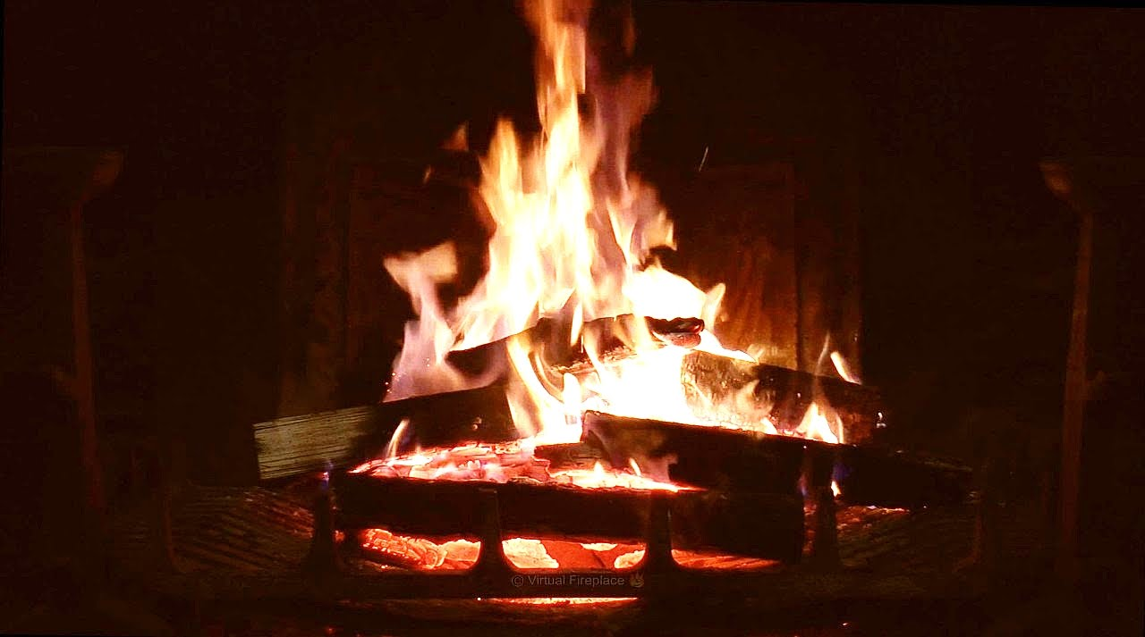 Burning Fireplace with Relaxing Crackling Fire Sounds (No Loop ...
