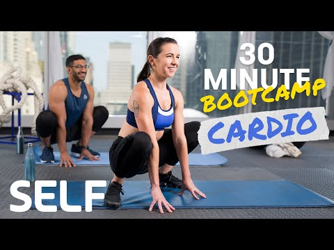 30 Minute Bodyweight Cardio Bootcamp Workout - No Equipment With Warm-Up & Cool-Down | SELF