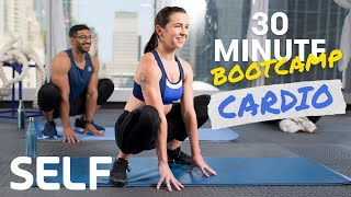 30 Minute Bodyweight Cardio Bootcamp Workout - No Equipment With Warm-Up & Cool-Down   SELF