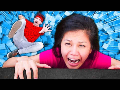 I FACE MY FEAR OF HEIGHTS for Daniel's Last Name! Trampoline Park Slam Dunk Contest & Battle Royale!
