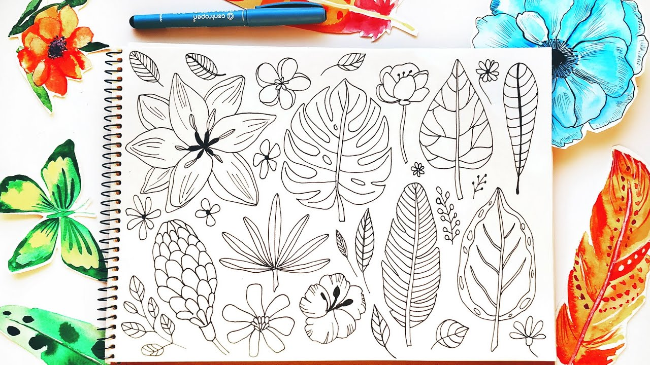 Tropical Leaves And Flowers Doodles Drawing Ideas Bullet Journal Doodles For Beginners Youtube So here i have lined up 25 gorgeous tropical vacation feeling spreads! tropical leaves and flowers doodles drawing ideas bullet journal doodles for beginners