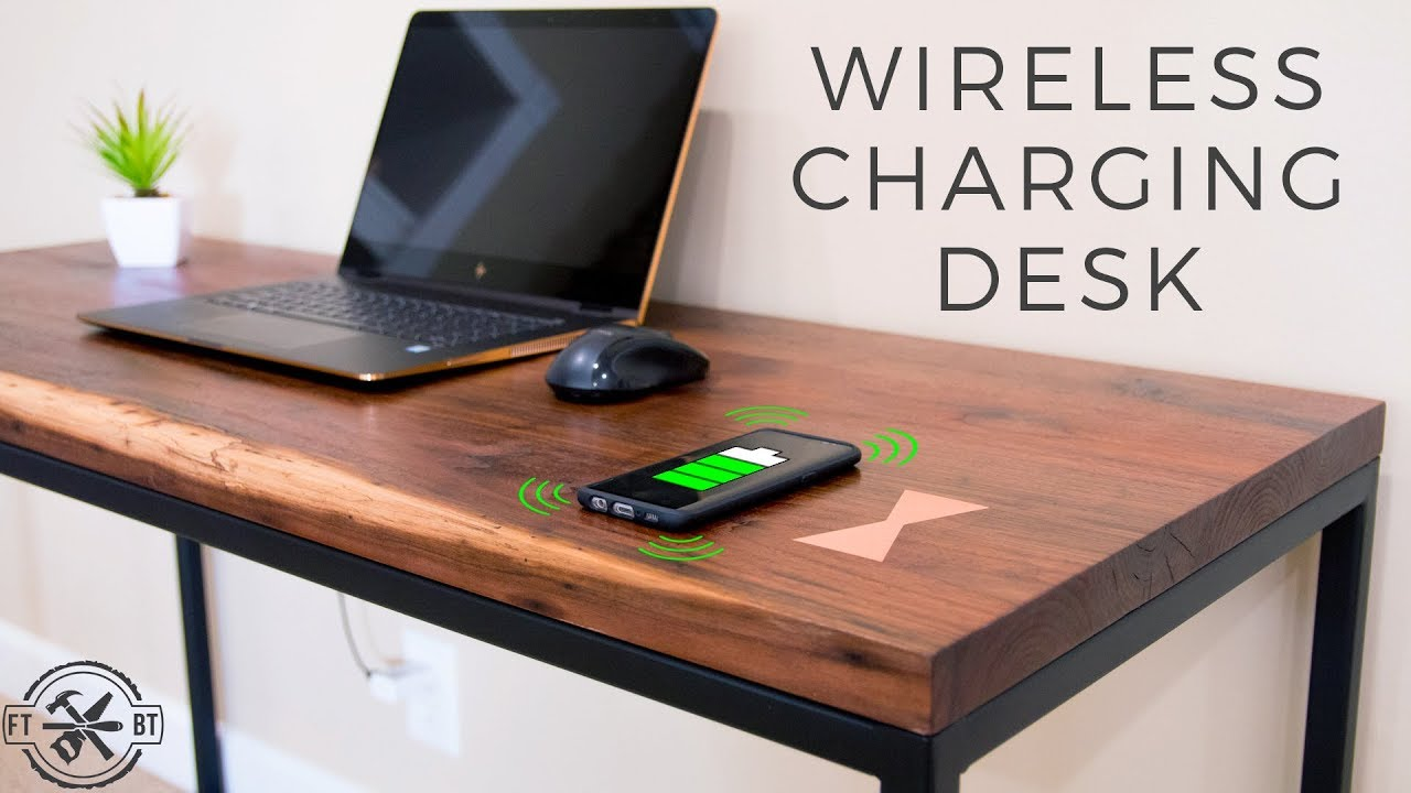 Timber Computer Desk How To Make A Desk With Hidden Wireless Charging
