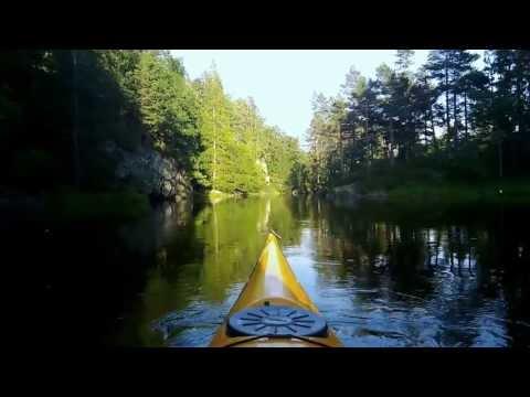 Kayaking on lake. Grimevann, Lillesand, Norway