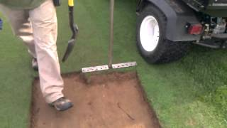 Using our homemade sod cutter.