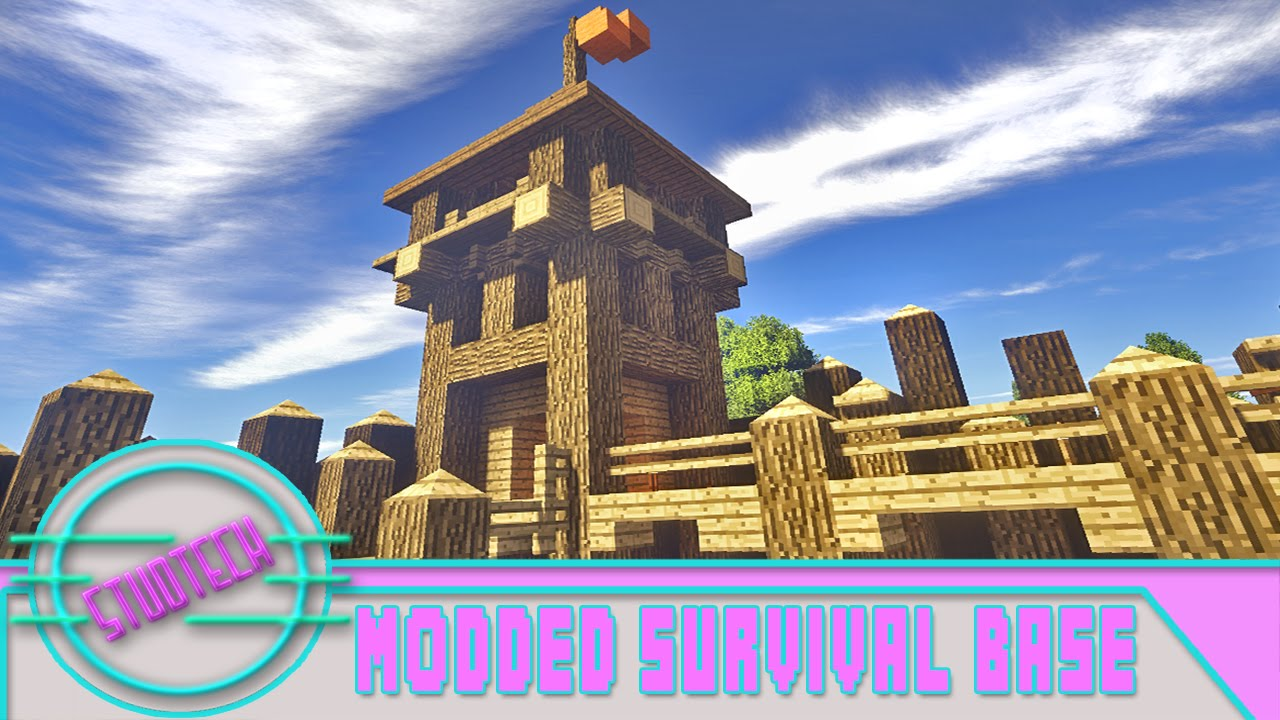 Minecraft: Modded Survival Base Build   Tower Design (Stud Tech Ep.2)    YouTube