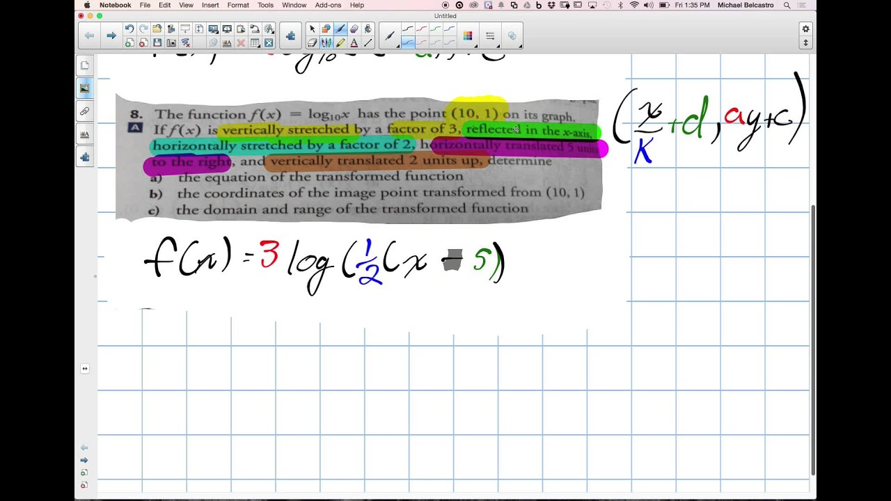 Transforming Logarithmic Functions Grade 12 Advanced Functions Lesson 8 2  11 28 14 How To Find Range