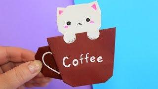 Оригами Котик в кружке / Подарок из бумаги своими руками