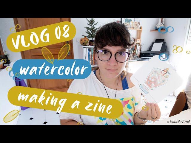 Studio vlog 8 : Painting, preparing etsy orders, making a zine mockup.